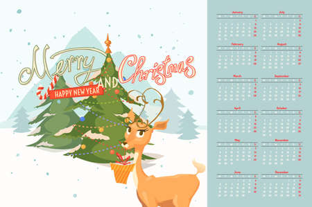 Stylish calendar merry Christmas and happy New Year 2017. Vector illustration. Young deer with a gift on a wood background. Illusztráció
