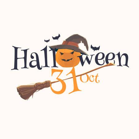 Sticker and poster Happy Halloween. Emoticon face. Vector pumpkin. Illustration