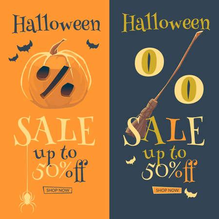 Original concept poster Halloween discount sale. Retro banner. Vector illustration