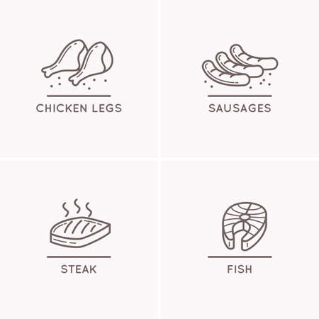 salmon fillet: Set of vector silhouette icons. Farming meat and fish. Line drawing sausages, chicken legs, salmon fillet. Illustration