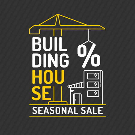 housing style: Poster the construction of houses in a flat linear style. Seasonal discounts on purchase of apartments and housing. Illustration