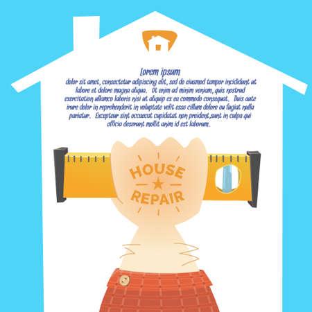 locksmith: Stylish posterin cartoon style. The hand of the worker locksmith, painter, plasterer, carpenter. Vector illustration.