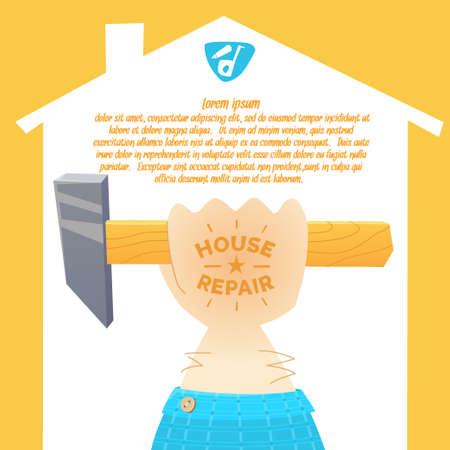 locksmith: Stylish poster in cartoon style. The hand of the worker locksmith, painter, plasterer, carpenter. Vector illustration. Illustration
