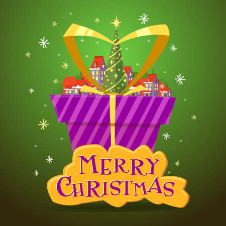 postcard box: Postcard Merry Christmas with a inscription. illustration of Christmas tree and village with small houses. Green gift box