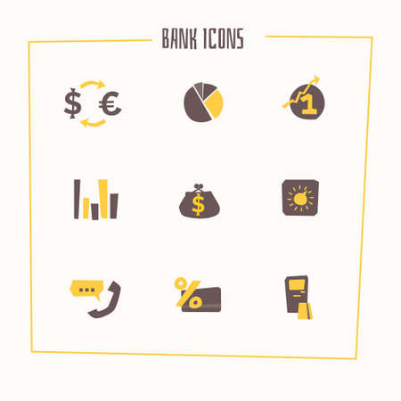 stock quotes: Set of banking icons in cartoon style. illustration. Illustration