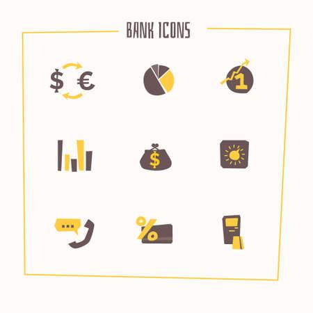 rent index: Set of banking icons in cartoon style. illustration. Illustration