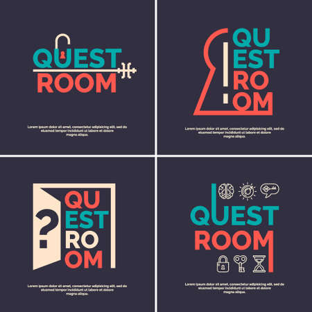 Real-life room escape. Set and posters for the quest room. Illustration