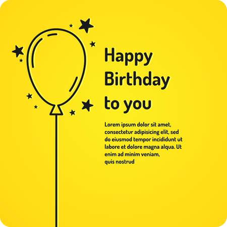 Feliz cumpleaños, cartel lineal minimalista sobre fondo brillante. Ilustración vectorial