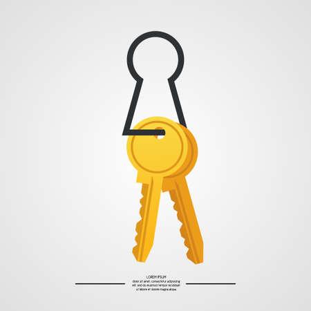 Isolated illustration of keys on white background. Illustration