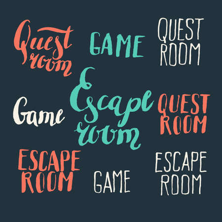 quest: Real-life room escape and quest game. Modern hand drawn lettering phrase. Calligraphy brush and ink. Handwritten inscriptions and quotes for layout and template. Vector illustration of text