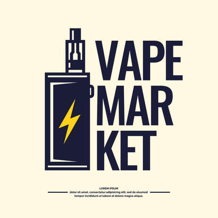 electronic elements: Drawing and poster of Electronic cigarette. Vaping store and a bar. Elements and icons, vector illustration.
