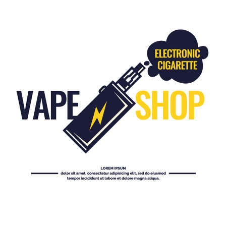 Drawing and poster of Electronic cigarette. Vaping store and a bar. Elements and icons, vector illustration.