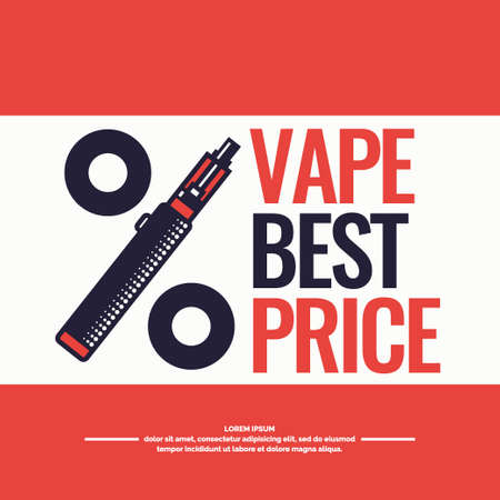 eliquid: Drawing and poster of Electronic cigarette. Vaping store and a bar. Elements and icons, vector illustration.
