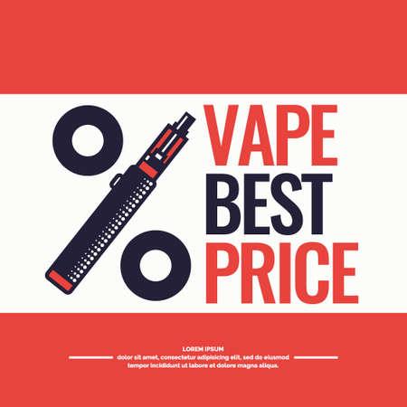 Tekenen en poster van de elektronische sigaret. Vaping winkel en een bar. Elementen en pictogrammen, vector illustratie.