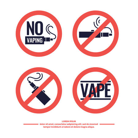 eliquid: No Smoking sign prohibiting. Drawing and poster of Electronic cigarette. Vaping store and a bar. Elements and icons, vector illustration.