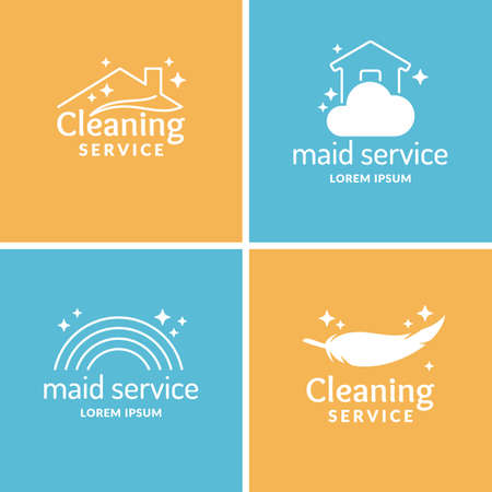 carpet cleaning service design: Set Cleaning and maid service. Label collection. design elements. Illustration