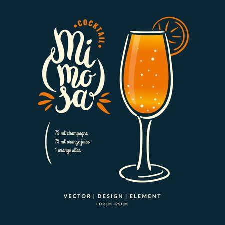 dibujado a mano moderno letras a la etiqueta de alcohol cóctel Mimosa. Cepillo de la caligrafía y tinta. inscripciones escritas a mano para el diseño y la plantilla.