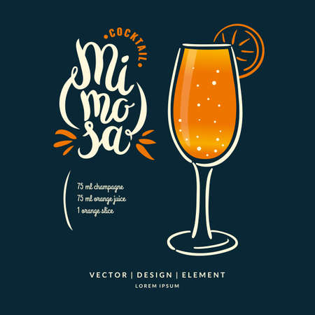 Modern hand drawn lettering label for alcohol cocktail Mimosa. Calligraphy brush and ink. Handwritten inscriptions for layout and template. Vettoriali