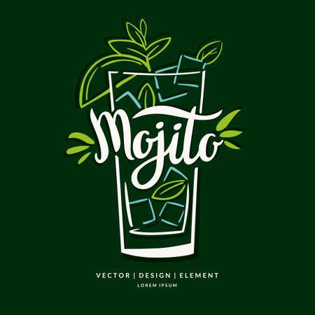 letras a la etiqueta dibujada a mano moderno de Mojito cóctel de alcohol. Cepillo de la caligrafía y tinta. inscripciones escritas a mano para el diseño y la plantilla.