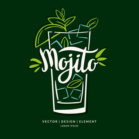 Modern hand drawn lettering label for alcohol cocktail Mojito. Calligraphy brush and ink. Handwritten inscriptions for layout and template.