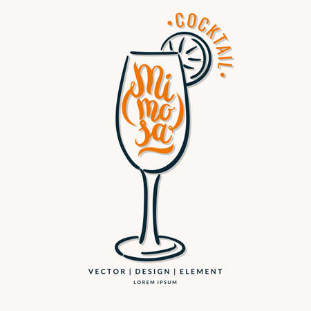 Modern hand drawn lettering label for alcohol cocktail Mimosa. Calligraphy brush and ink. Handwritten inscriptions for layout and template. Illustration