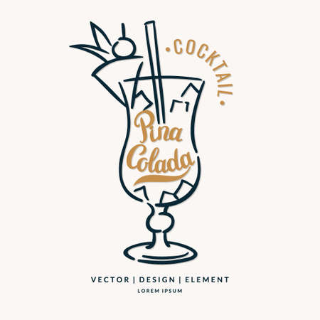 colada: Modern hand drawn lettering label for alcohol cocktail Pina Colada. Calligraphy brush and ink. Handwritten inscriptions for layout and template.