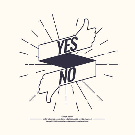 Yes and no hipster linear sign of product quality and choice. Thumbs Up and Down Poster. Vector illustration. Illustration
