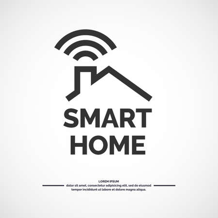 Smart home icon. Emblem sign Wi-Fi. Vector illustration,