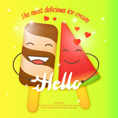 flavor: Bright vector illustration of ice cream. Funny characters. Isolated illustration of a dairy product.