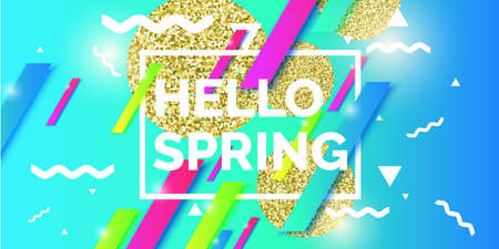 Hello spring abstract geometric background. Memphis style trendy 80s - 90s.