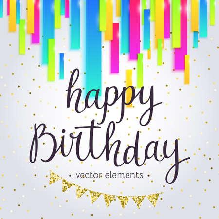 happy: Modern hand drawn lettering Happy Birthday. Illustration