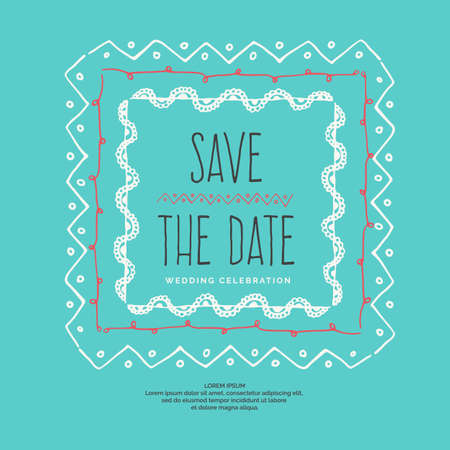 Save the Date. Vintage vector drawing frames to your template.