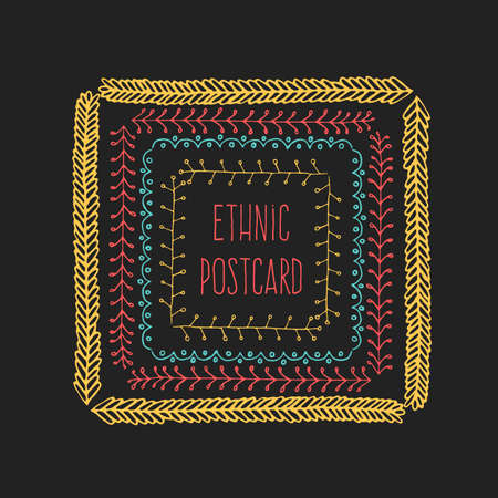 embellishment: Ethnic postcard background with hand drawn line border.