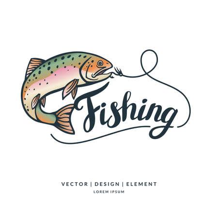 Fishing logo. getrokken letters Hand. Kalligrafie penseel en inkt. Handgeschreven inscripties en offertes voor lay-out en template. Vector illustratie van de tekst.