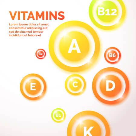 Proper nutrition and health care background with the vitamins.