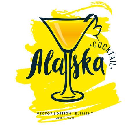 Modern hand drawn lettering label for alcohol cocktail Alaska. Illustration