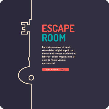 Illustration of key. Real-life room escape and quest game poster. Illustration