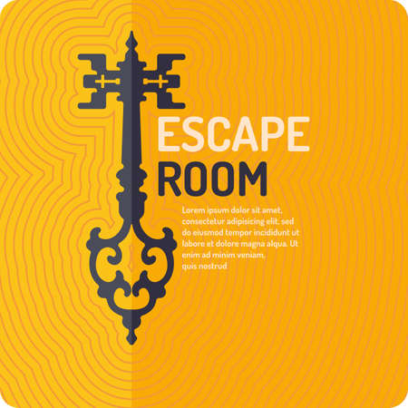 Sala de escapar de la vida real y el cartel juego de búsqueda. Foto de archivo - 74914373