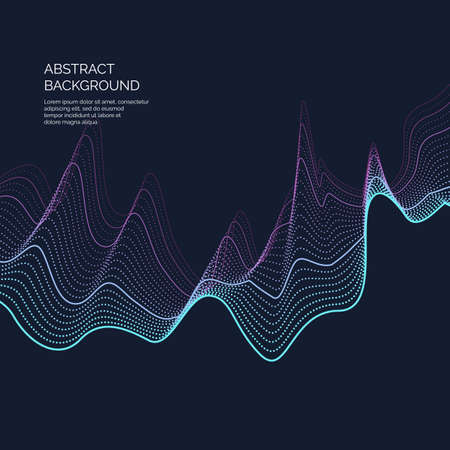 Abstract background with a dynamic waves and particles. Vector illustration. Иллюстрация