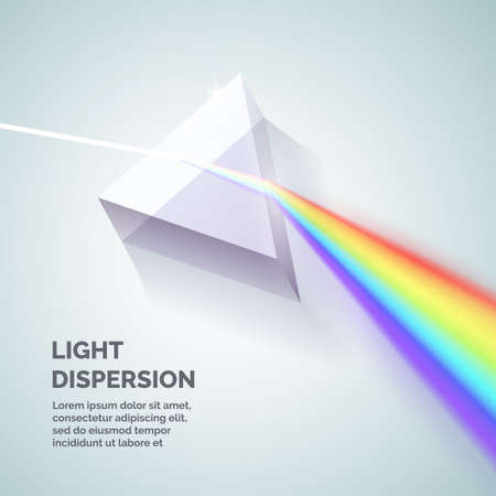 Light dispersion. Illustration of how to get a rainbow. Vector illustration. Иллюстрация