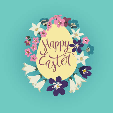 Vector illustration of greeting card Happy Easter. With egg and a bouquet of wild spring flowers on a blue background Illustration