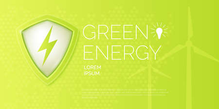 Modern poster on the topic of Natural energy. Vector banner ecology and electricity. Illustration