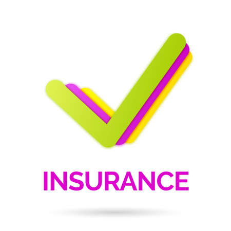 Bright sign and logo of life insurance. Vector illustration.