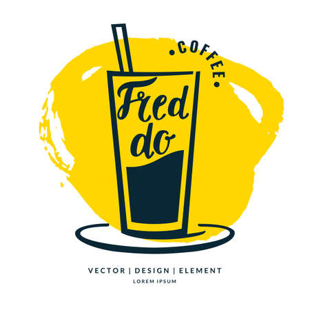 fredo: Modern hand drawn lettering label coffee drink Fredo. Calligraphy brush and ink. Handwritten inscriptions for layout and template. Vector illustration of text. Vettoriali