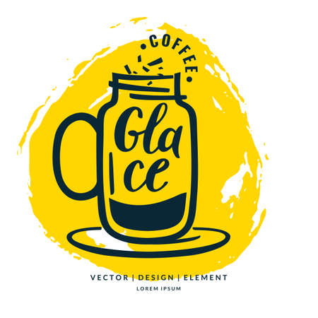 glace: Modern hand drawn lettering label coffee drink Glace. Calligraphy brush and ink. Handwritten inscriptions for layout and template. Vector illustration of text.