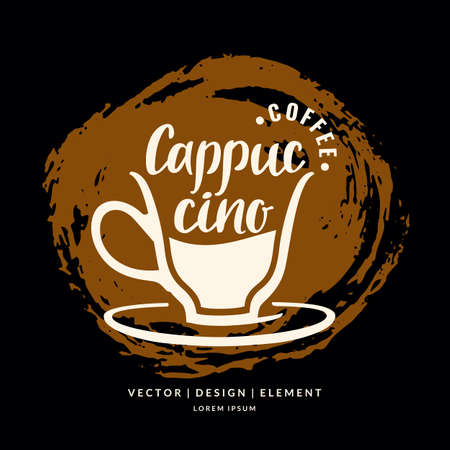 Modern hand drawn lettering label coffee drink Cappuccino. Calligraphy brush and ink. Handwritten inscriptions for layout and template. Vector illustration of text.