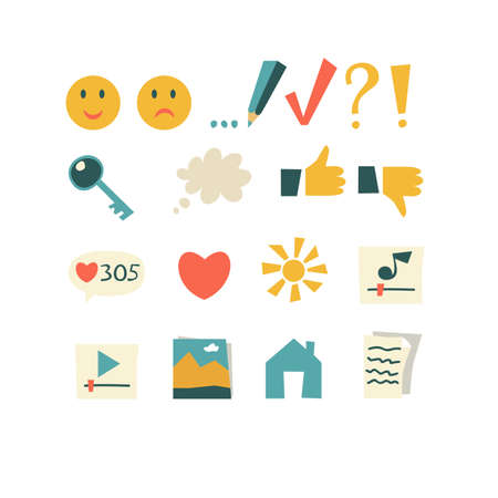 likes: Set of vector icons, buttons for application design, for the blog in flat cartoon style on bright background