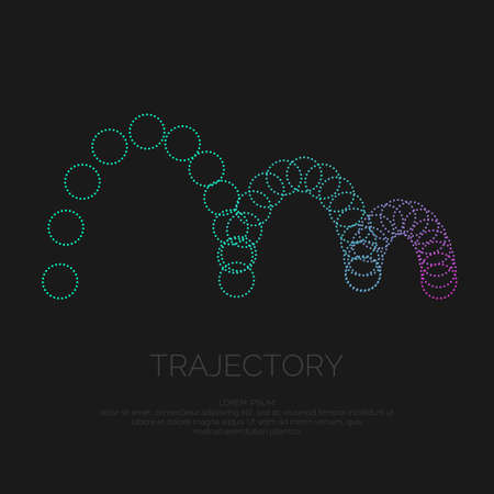 Vector abstract background with circles, and the particle trajectory. Illustration suitable for motion design