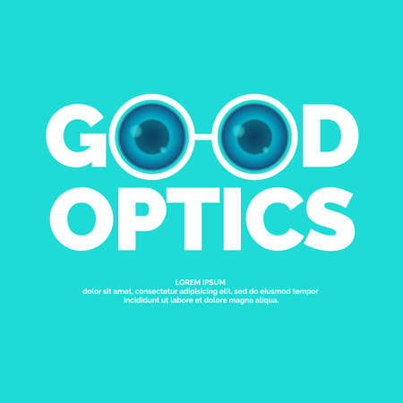 Modern vector logo good optics. In a flat style on blue background for clinics, medical and shops