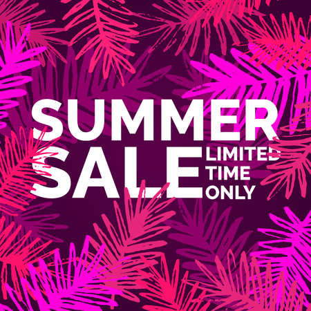 Modern vector poster summer sale for a limited time only. Illustration for poster, advertising, marketing